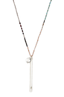 Long Beaded Necklace w/ Brushed Silver Pipe Whistle & Crystal Charm