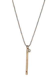 Long Ball Chain Necklace w/ Rustic Brass Pipe Whistle & Stone Charm