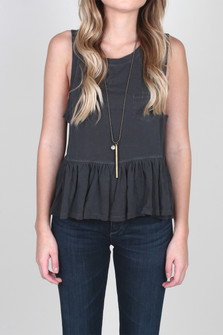 Continental Peplum Sleeveless Tee w/ Pocket
