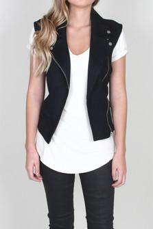 Alexa Faux Suede Moto Vest