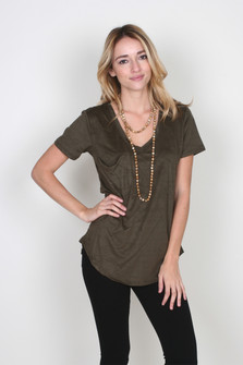 V-Neck Slouch Pocket Faux Suede Tee