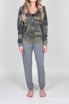 Vintage Camo Zip Up Hoodie Sweatshirt