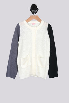 Key Contrast Sleeve Cardigan w/ Pockets (Big Kid)