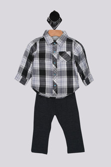 Reversible Snap Up Plaid Shirt & Knit Pant Set (Infant/Toddler/Little)