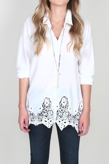Delaney L/S Button Up Blouse w/ Lace Crochet Trim