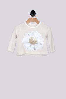 Fuzzy Sequin Sunflower Sweater (Infant)