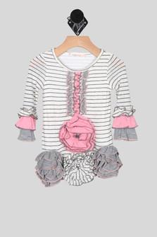 Striped L/S Dress w/ Ruffle Flower Details (Infant)