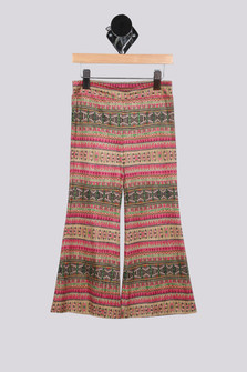 Faux Suede Printed Bell Bottom Pant (Little Kid)