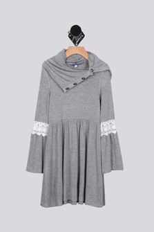 Oversize Turtle neck dress in grey bell sleeves with lace at top of bell, turtle neck has button accents and looks more like a collar For more details contact toll free 855-597-0313