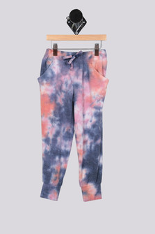 Blue Pink and Coral Tie Dye Slouching Pants with pockets For more details contact toll free 855-597-0313