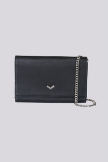 Soho Leather Wallet On A Chain  Fold over wallet with silver V accent closure, with chain shoulder strap in black. For more details contact toll free 855-597-0313