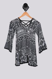 L/S Printed Dress w/ Crochet Trim (Big Kid)