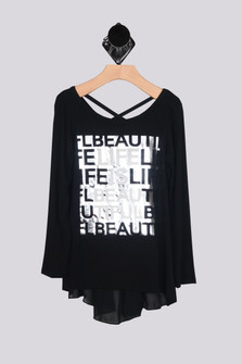 L/S Metallic Life Is Beautiful Top (Big Kid)