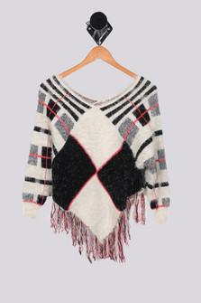 L/S Fuzzy Plaid Sweater w/ Fringe (Big Kid)