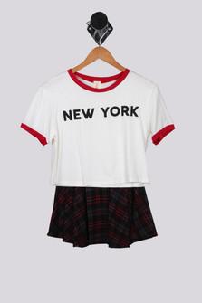 Plaid Skirt with New York Top Set (Big Kid)