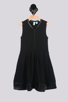 Sleeveless Zip Front Dress w/ Faux Leather Trim (Little/Big Kid)