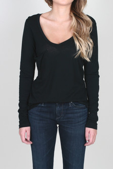 V-Neck Slouch Pocket L/S Solid Tee