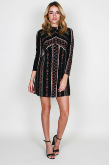 Stella Printed L/S Mini Dress w/ Zip Back