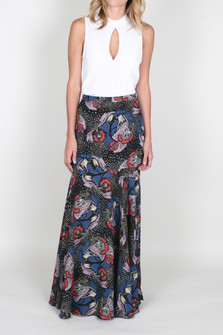 Pebble Crepe Floral Printed Skirt w/ Side Slits