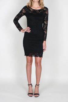 L/S Lace Overlay Mini Dress