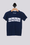 """S/S tee in blue with the periodic table tiles that spell out """"Ge Ni U S"""" for more detail information contact toll free 818-597-0313"""