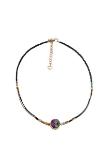 Relaxed Choker with Semi Precious Stone