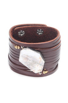 Faux Leather Stone Cuff Bracelet