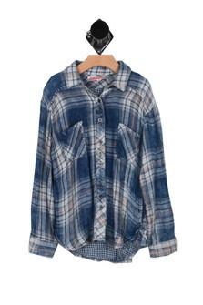 Lyla Destroyed Plaid Button Up Shirt (Big Kid)
