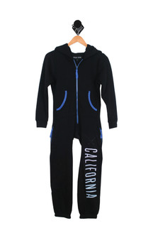 "California Surf Onesie Black with blue trim and text ""California"" on left leg for more detail contact toll free 855-597-0313"