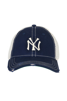 Navy trucker hat with NY Yankee Logo, white on back for more detail call toll free 855-597-0313