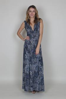 Low V Neck Front & Back Maxi Dress w/ Slits
