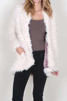 Flared and Fluffy Faux Fur Jacket