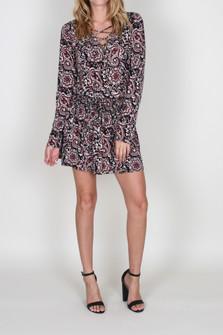 Lace Up Drop Waist L/S Dress