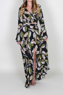 Feather Print Wrap Maxi Skirt