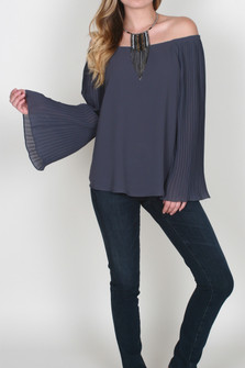 Off the Shoulder Pleated Sleeve Blouse