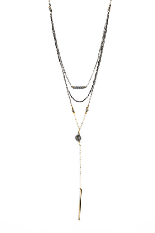 Silver 3 Layer Necklace short layer to bar of beads, second layer chain, third layer goes to gold chain and grey bead to gold chain to gold dangling bar for more detail contact toll free 855-597-0313