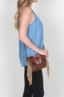Western Inspired Embroidered Leather Bag