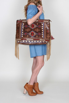 Western Inspired Embroidered Leather Tote