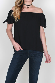 Chiffon Off the Shoulder Tie Sleeve Blouse