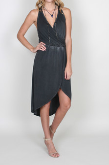 Faux Wrap Dress w/ Crochet Back Detail