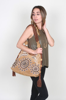 Suede Embroidered Handbag w/ Side Tassels