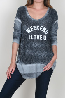 Weekend I Love You L/S Sweater