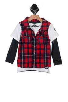 Plaid Vest w/ L/S Layer (Little/Big Kid)