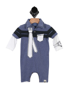 L/S Polo Onesie w/ Tie Detail (Infant)