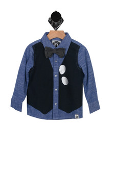 L/S Button Down Bow Tie Shirt (Toddler/Little/Big Kid)