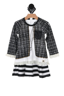 L/S dress with Mock Houndstooth Jacket with mock pocket on left breast, skirt is black & white stripe for more detail contact toll free 855-597-0313