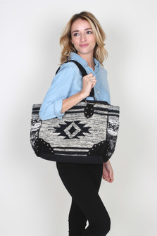 Navajo Inspired Studded Tote w/ Leather Trim