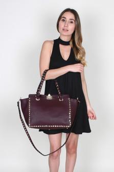 Vegan Leather Gold Studded Handbag