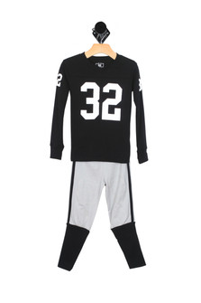 Black & Grey Football PJ Set (Little/Big Kid)