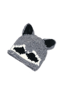 Soft and cozy, Roscoe the Raccoon hat.